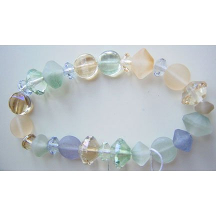 Faceted Glass Beads Sea Glass Crystal Rivoli Saucer Lentil Shapes Mix
