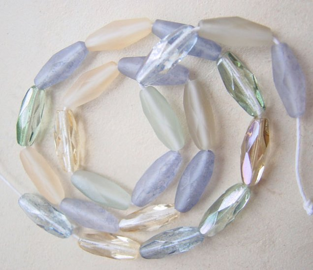 25 Faceted Glass Beads Beach Sea Czech Crystal Mix SpaghettiI