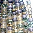 Beach Pebbles Mix Czech Glass Size 6.0 Blue Aqua Grey Blue Frost Lt Champagne