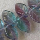 Teal Blue and  Amethyst Glass Leaf Beads 20 Czech Last one