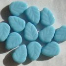 Blue Turquoise Glass Leaf Beads 10mm Vein Inlay Details