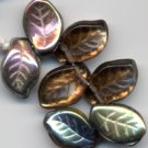 Gorgeous Bronze Topaz Czech Glass Leaf Beads 25