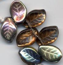 Gorgeous Bronze Topaz Czech Glass Leaf Beads 25
