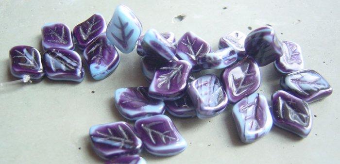 Blue and Purple Stripe 9x12mm Glass Leaf Bead