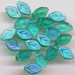 Green Turquoise Aqua Frost Matte AB Leaf Glass Beads 25 Pcs