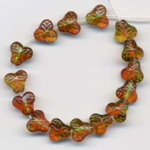 Grape Fruit or Berry Leaf Beads Autumn Green Yellow Jonquil