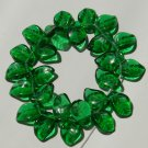 Green Leaves Glass Beads 14mm Christmas Holiday St Patrick's Day