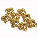 Leaf Bead Cap Metal Gold Tone Use With Flowers, Melon, Druks 6mm