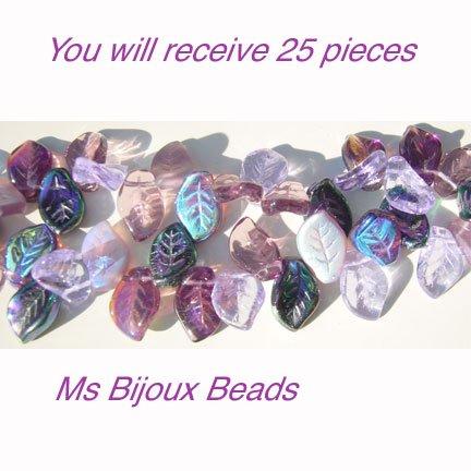 Lilac Garden Leaves Bead Mix Glass Amethyst Purple 25