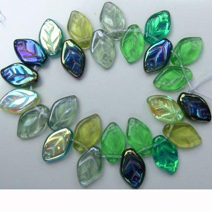 Green Leaf Beads Evergreen Mix Glass Czech 25 Pcs