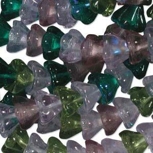 Lavender Garden Flower Beads Glass 8mm 25 Pcs Purple Green Mix