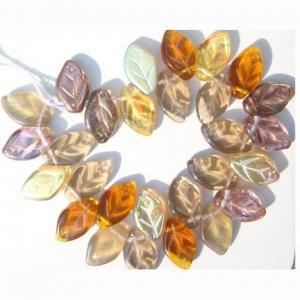 Autumn Glow Leaf Beads Glass Topaz Bronze Fire Opal 25