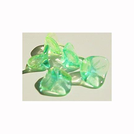 Green Jonquil Aqua 3 Petal Flower Trumpet Glass Beads