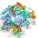 Two Tone Color Mix 9mm Flower Beads Blue Green Yellow Aqua