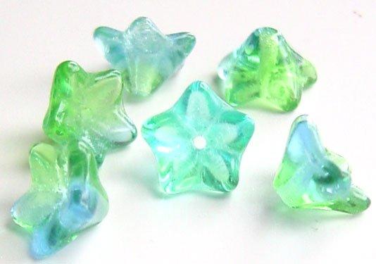 Blue Green Aqua Two Tone 9mm Flower Beads Czech Glass