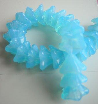 Aqua Blue Opal Flower Beads Czech Glass Fluted Trumpet