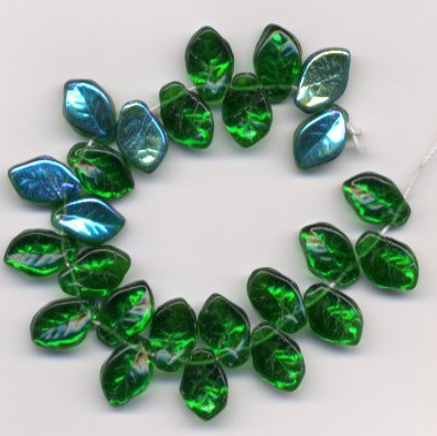 Emerald Green Marea Glass Leaves 9x14mm Beads