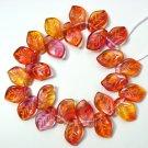 Lemon Yellow Fushia Pink CZECH GLASS LEAF 14mm Beads