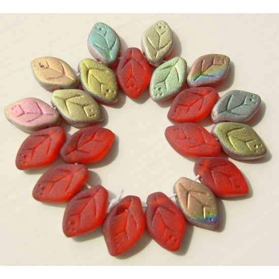 Red Matte Frosted AB Color Leaf Glass Beads 25 Pcs