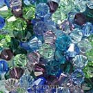 4mm 5301 Bicone Swarovski Crystal Jeweltone Mix Blue Green Amethyst Purple