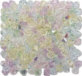 4mm 5301 Bicone Swarovski Crystal Spring Flowers Mix Light Pastel Color Pink Peach Lavender Green