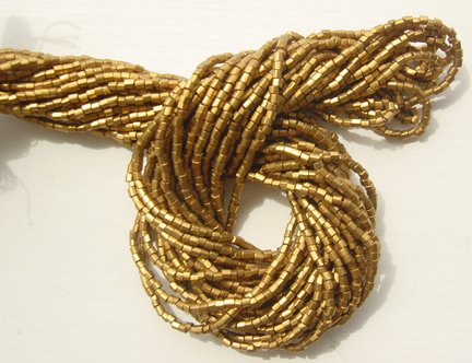 "Metallic Old Gold Czech 10/0 Seed Bead MIX 20"" Strands"
