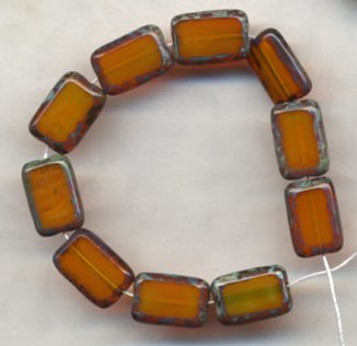 Topaz Gold Rectangle Table Window Vintage Style Beads