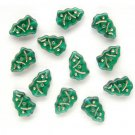 Emerald Green w Gold Inlay Christmas Tree Beads Glass  (