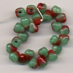 Green Pears Fruit Beads green yellow red Carmen Miranda