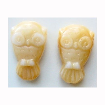 Beige Cream HOOT Owl Beads Beige Czech Glass Charm