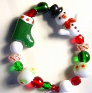 Snowman Stocking Christmas Holiday Lampwork Beads FUN!