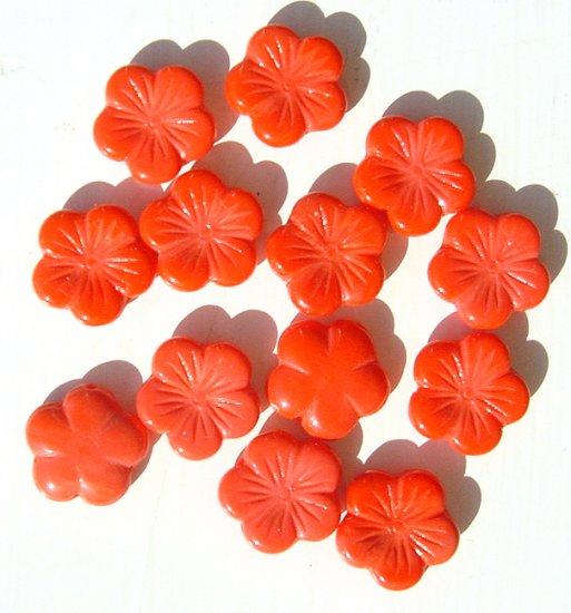 5 Petal BiG Flat Flower Glass Bead Coral Color Orange-Red