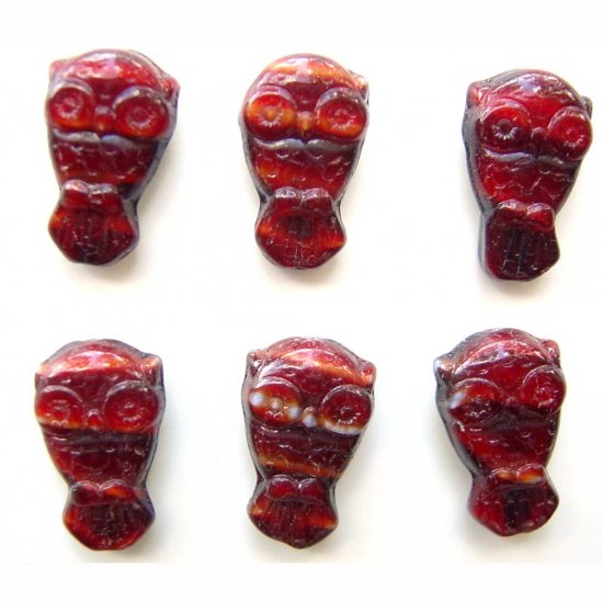 Owl Beads Red Burnt Sienna Czech Glass Bird