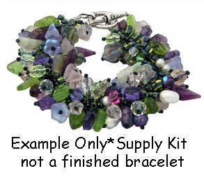 Lilac Flower Garden Fringe Bracelet Kit Beads Leaves