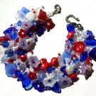 Patriotic Flower Fringe Bracelet Bead Kit Red White Blue Instructions Included