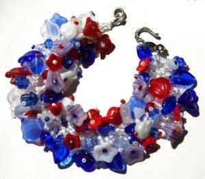 Patriotic Flower Fringe Bracelet Bead Kit Red White Blue Instructions Included