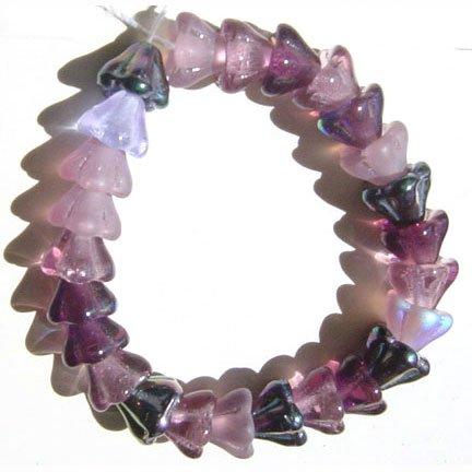 25 Pcs Lilac Garden Mix Purple Amethyst Flower Beads