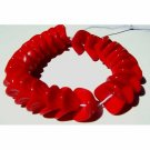 Siam Red Opaque Flower Beads Glass 100 Pieces
