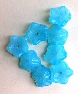 Blue Opal Flower Beads Czech Glass Slightly Cupped 5 Petal with details