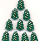 Christmas Tree Beads Green Glass 100 Pieces