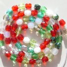 4mm Round Fire Polished Crystal Beads Red Green White