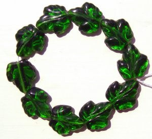 Grape Leaf Beads Big DarKest Green Glass Beads