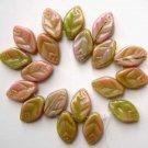 Mauve and Green Cane Glass Leaf Beads 7/12mm
