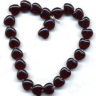 8mm Garnet Red Heart Beads Czech Glass