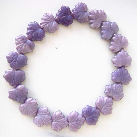 Lavender Purple Lilac Leaf Glass Beads