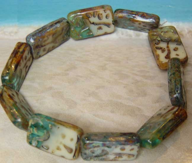 Cream Aqua Picasso Engraved Tile Rectangle Glass Beads