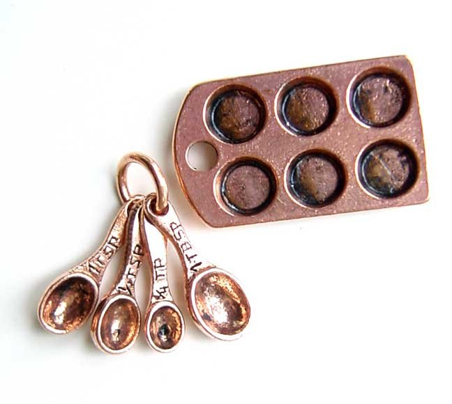 Muffin Tin Pan Measuring Spoon set Copper Charm for Necklace