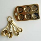 Baking Kitchen Charms Muffin Pan Measuring Spoon Gold Color
