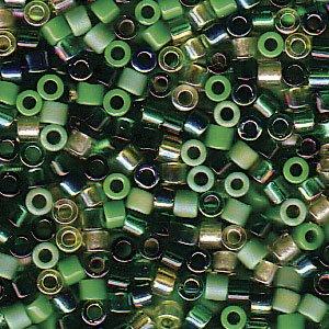 Evergreen Delica Beads Miyuki Green Olive Lime Mix