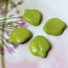 Wasabi Chartreuse Green Glass Leaves Beads Vintage Style